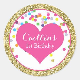 First Birthday Gold Glitter Round Sticker