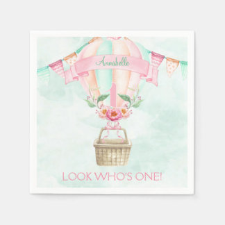 First Birthday Hot Air Balloon Mint Pink Peach Paper Napkins