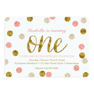 "FIRST BIRTHDAY Invitation-Gold + Pink Glitter-ONE 5"" X 7"" Invitation Card"