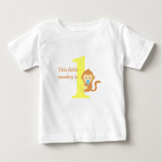 First Birthday, Little Monkey is One Baby T-Shirt