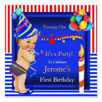 "First Birthday Party Boy Blue Red Brunette Baby 5.25"" Square Invitation Card"
