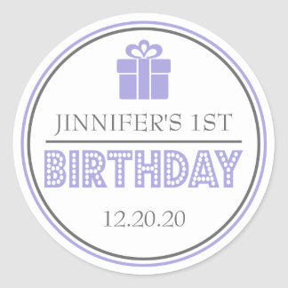 First Birthday Party Favor Stickers (Purple/Gray)