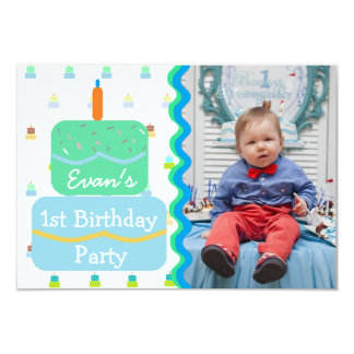 First Birthday Party for Baby Boy Invitations