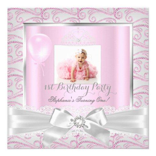 First Birthday Party Girls Pink Diamonds Tiara 2 Custom Announcements
