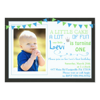 First Birthday Party invitation crown flags boy