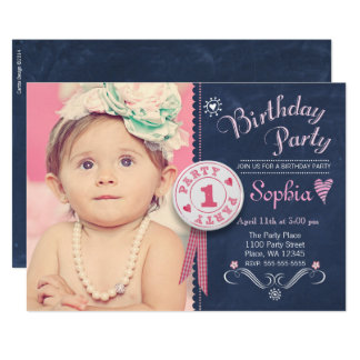 First Birthday Party Invitation Girl Chalkboard