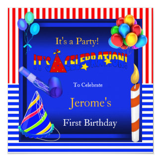 """First Birthday Party Red White Blue Boy or Girl 5.25"""" Square Invitation Card"""