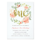 First Birthday Pink Gold Floral Wreath Invitation