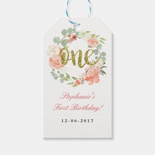 First Birthday Pink Gold Floral Wreath Tags