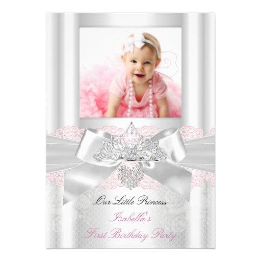 First Birthday Pink White Lace Diamond Tiara 2 Cards