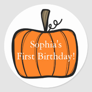 First Birthday Pumpkin Sticker