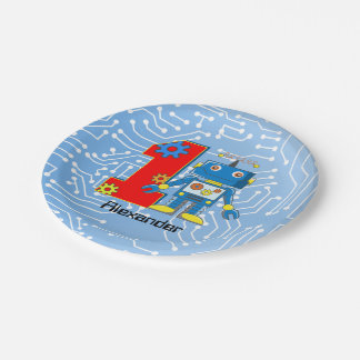 First Birthday Robot Party Paper Plate