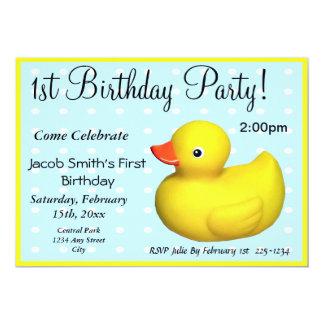 "First Birthday Rubber Ducky 5"" X 7"" Invitation Card"