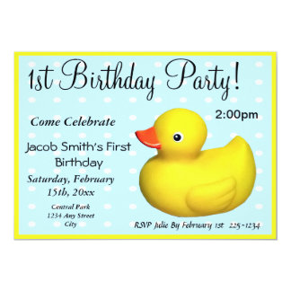 "First Birthday Rubber Ducky 5"" X 7"" Invitation Card"