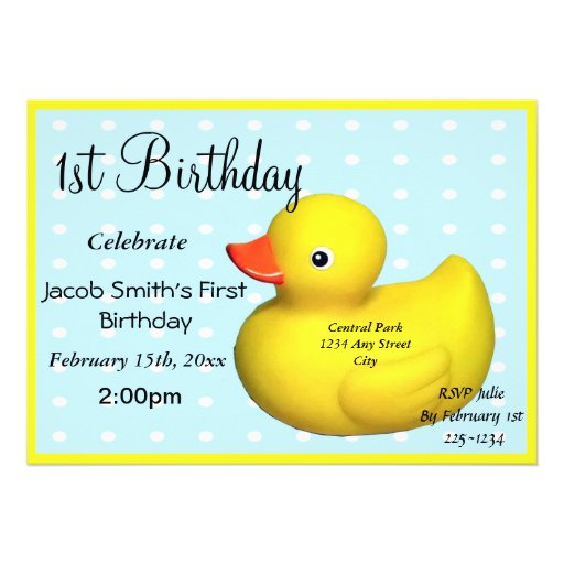 First Birthday Rubber Ducky Personalized Announcements