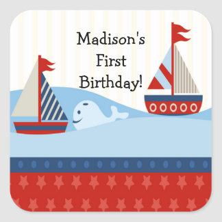 First Birthday Sailboat Square Sticker