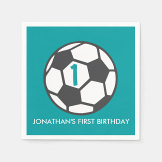 First Birthday Soccer Ball Party Napkins Disposable Napkins