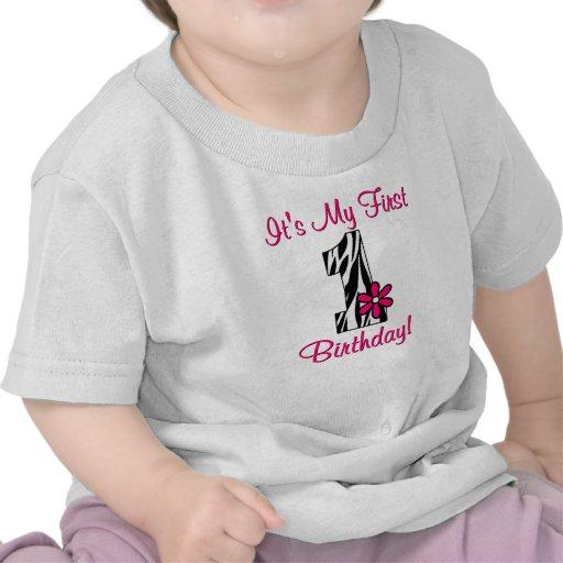 First Birthday Zebra Print Girls Shirt
