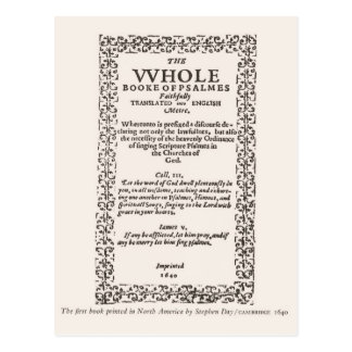 First book printed in North America 1640 Postcard