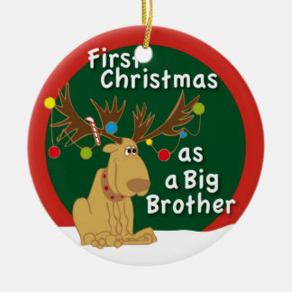 First Christmas as a Big Brother Round Ceramic Ornament