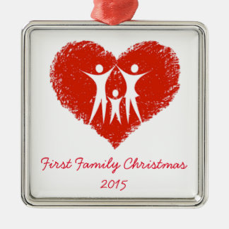 First Christmas as a Family! Silver-Colored Square Ornament