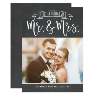 First Christmas As Mr and Mrs Holiday Photo Card
