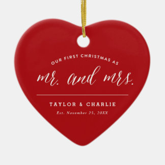 First Christmas As Mr & Mrs Holiday Photo Ornament