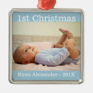 First Christmas Baby Boy Photo Ornament