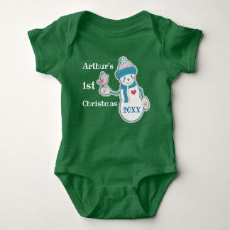 First Christmas Baby Boy Snowman Bodysuit