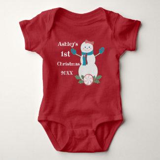 First Christmas Baby Girl Snowman Bodysuit