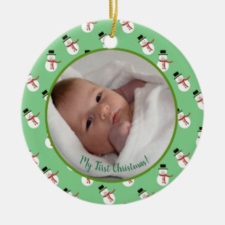 First Christmas baby photo with snowman Ceramic Ornament