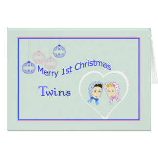 First Christmas Card for Twins Boy & Girl
