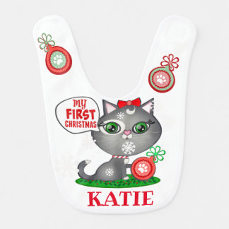 First Christmas Cat Custom Girl's Baby Bib