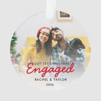 First Christmas Engaged Photo Couple Ornament
