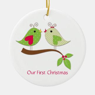 First Christmas Green Polka Dot LoveBirds on Holly Ceramic Ornament