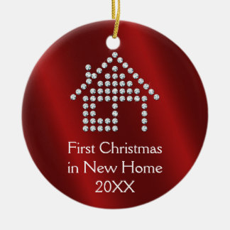 First Christmas in New Home 2017 | Red metallic Ceramic Ornament