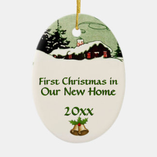 First Christmas in New Home Country Cabin Ceramic Oval Ornament
