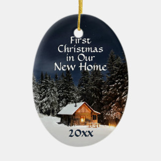 First Christmas in New Home Country Rustic Cabin Ceramic Ornament