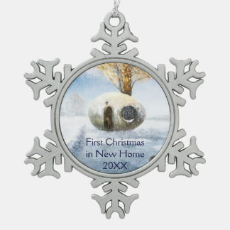 First Christmas in New Home | Fairy Egg House Snowflake Pewter Christmas Ornament