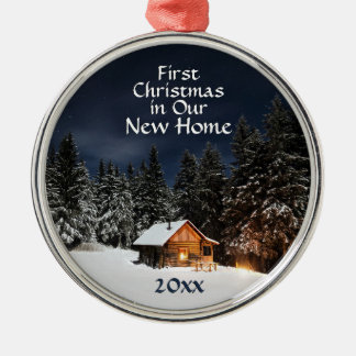 First Christmas in Our New Home Rustic Cabin Snow Metal Ornament