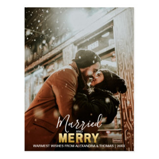 First Christmas Married and MERRY Gold | add PHOTO Postcard