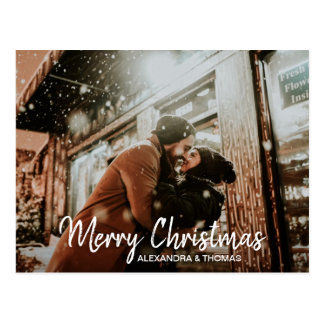 First Christmas Married Engaged White | PHOTO Postcard