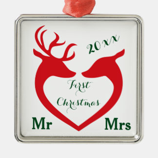 First Christmas Married Mr and Mrs Heart Deer Metal Ornament