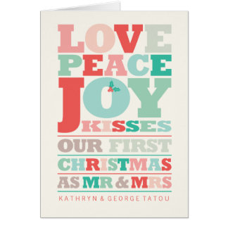 First Christmas Mr and Mrs Holiday Photo Greetings Card