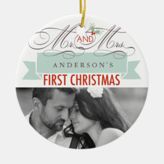 First Christmas Mr. & Mrs. Holiday Photo Ornament