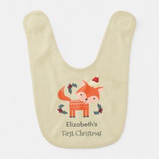 First Christmas Orange Fox In Santa Hat Customized Baby Bibs
