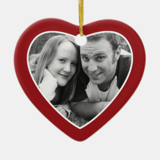 First Christmas Photo Frame - Heart Double Sided Ceramic Ornament