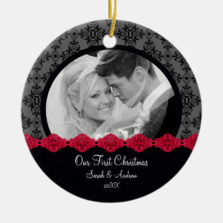 First Christmas Photo Ornament Couple Black Damask