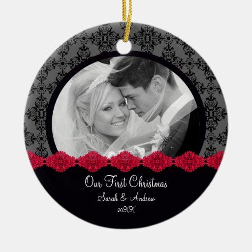First Christmas Photo Ornament Couple Black Damask