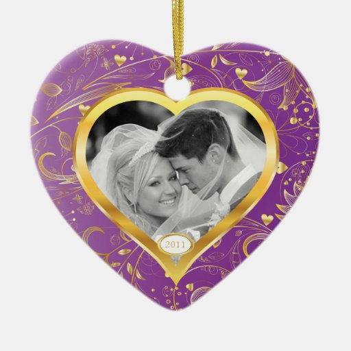First Christmas Photo Ornament Gold Heart Magenta
